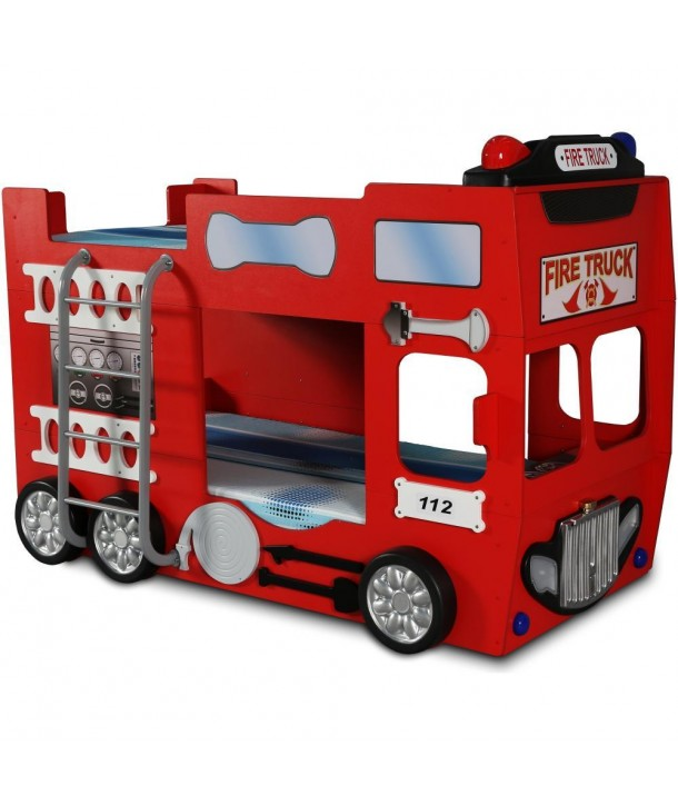 Pat etajat in forma de masina Pompieri - Plastiko