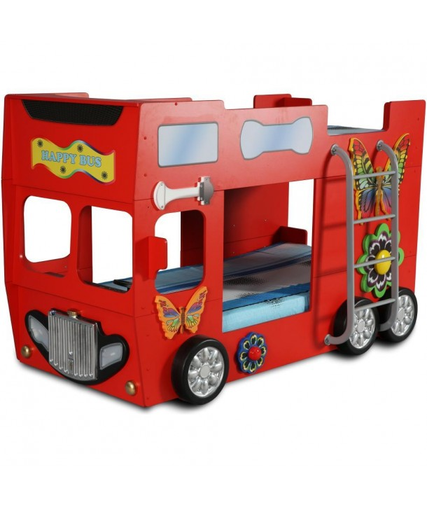 Patut in forma de masina Happy Bus - Plastiko - Rosu
