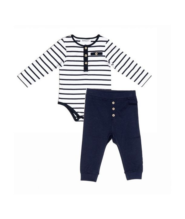 Body cu pantalonasi Babaluno culoare alb/bleumarin