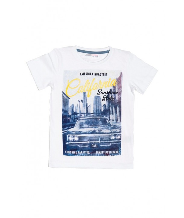 Tricou alb cu imagine imprimata pentru baieti