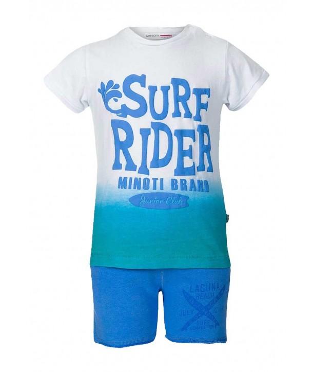 "Set doua piese albastru Minoti pentru bebelusi ""Surf Rider"""