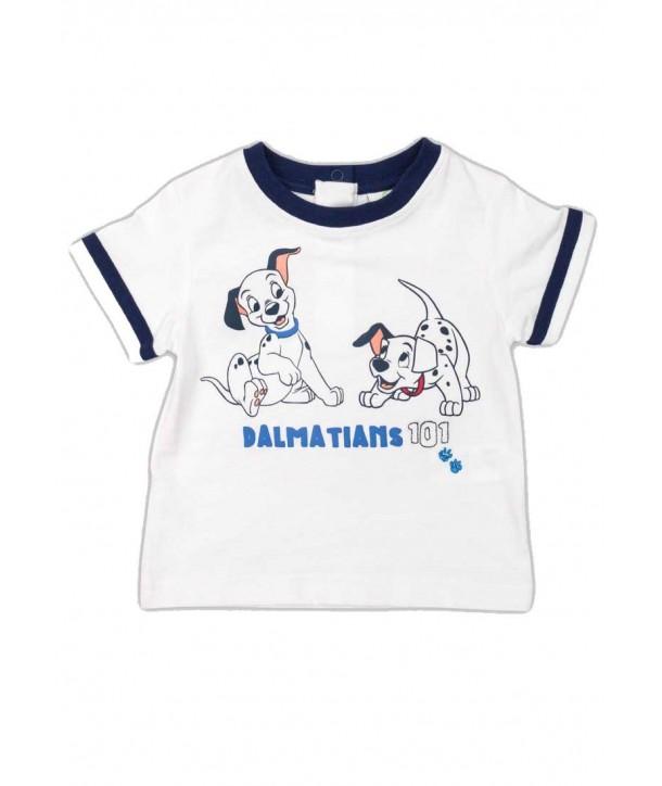 "Tricou alb/albastru Disney pentru bebelusi ""101 Dalmatieni"""