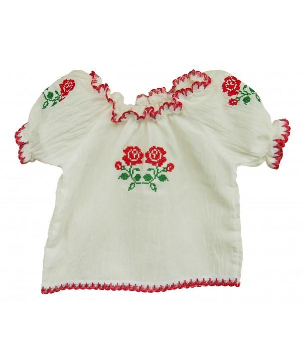 Bluza tip ie pentru fetite, cu model traditional rosu
