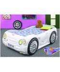 Pat masina copii Sleep Car - Plastiko - Alb