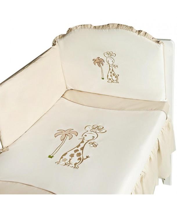 Set lenjerie 6 piese Girafa 100x135 - Crem