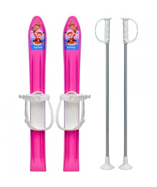Skiuri copii 60 cm - Marmat - Roz
