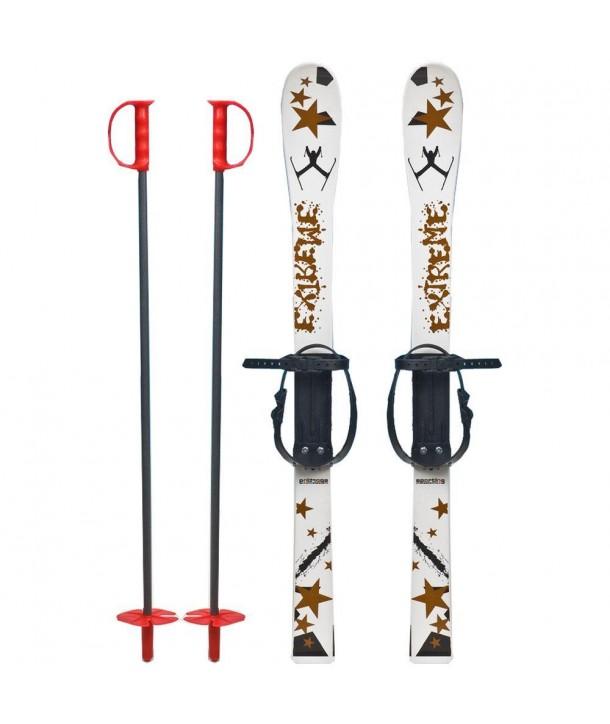 Skiuri copii 90 cm - Marmat - Alb