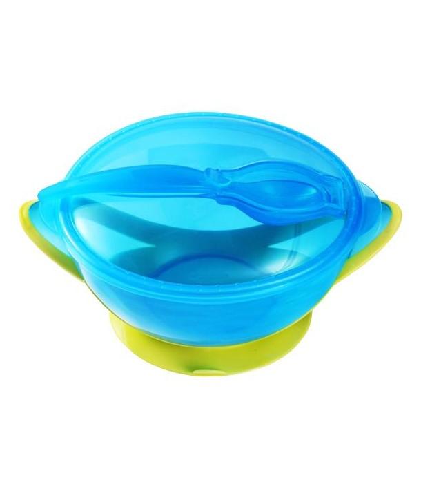 Castron cu ventuza si lingura - BabyOno - Albastru cu Verde