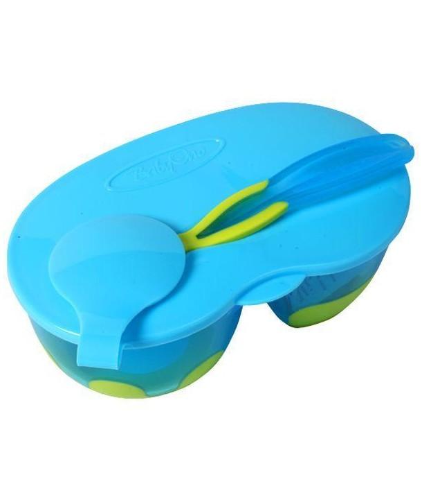 Castron cu lingura - BabyOno - Albastru cu Verde