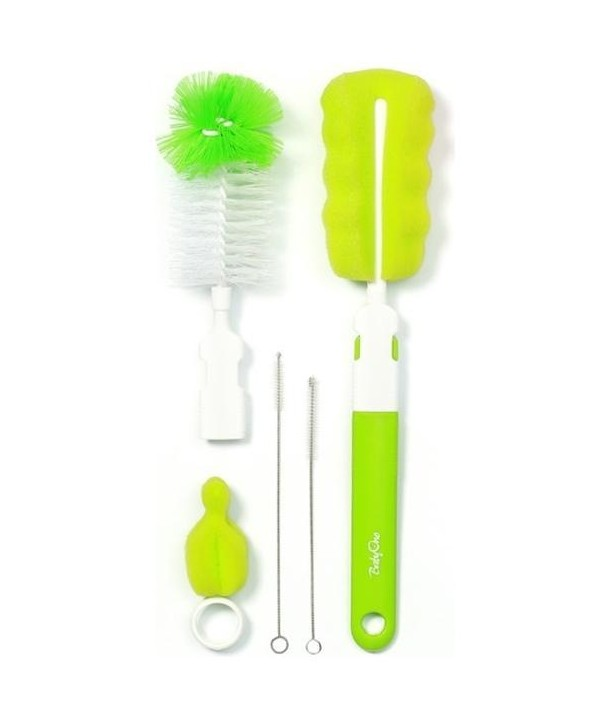 Perie biberoane si tetine cu accesorii - BabyOno - Verde