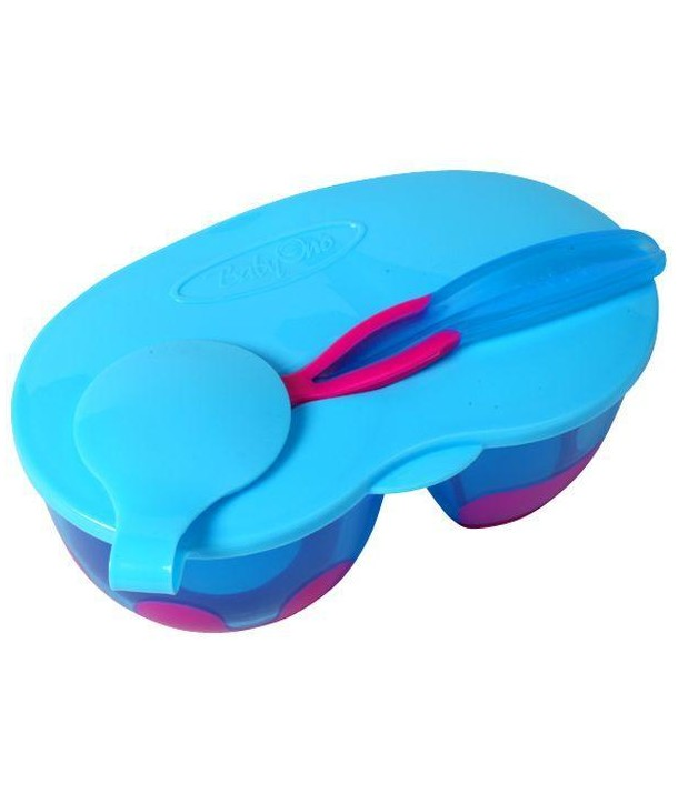 Castron cu lingura - BabyOno - Albastru cu Roz