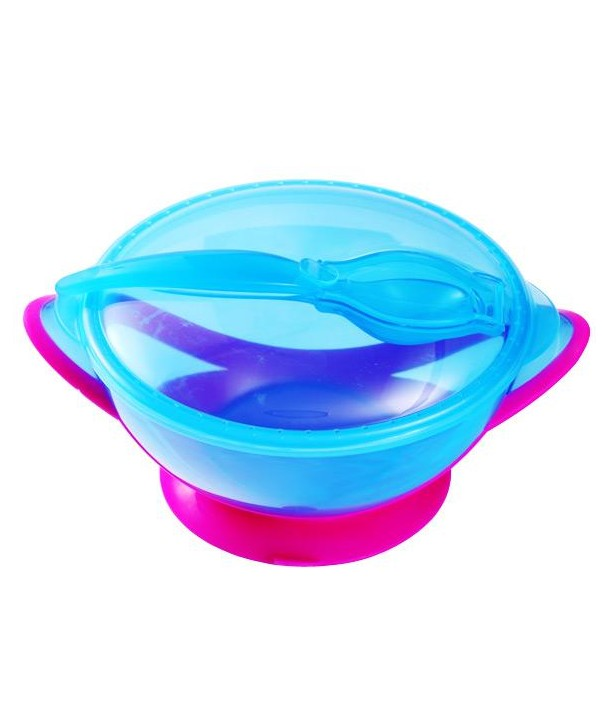 Castron cu ventuza si lingura - BabyOno - Albastru cu Roz