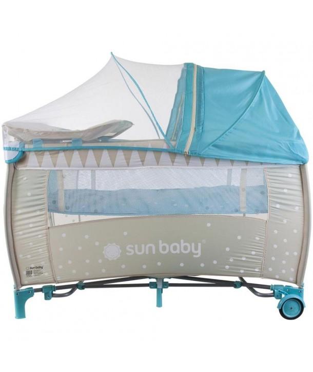 Patut Pliabil cu Sistem de Leganare Sweet Dreams - Sun Baby - Turcoaz