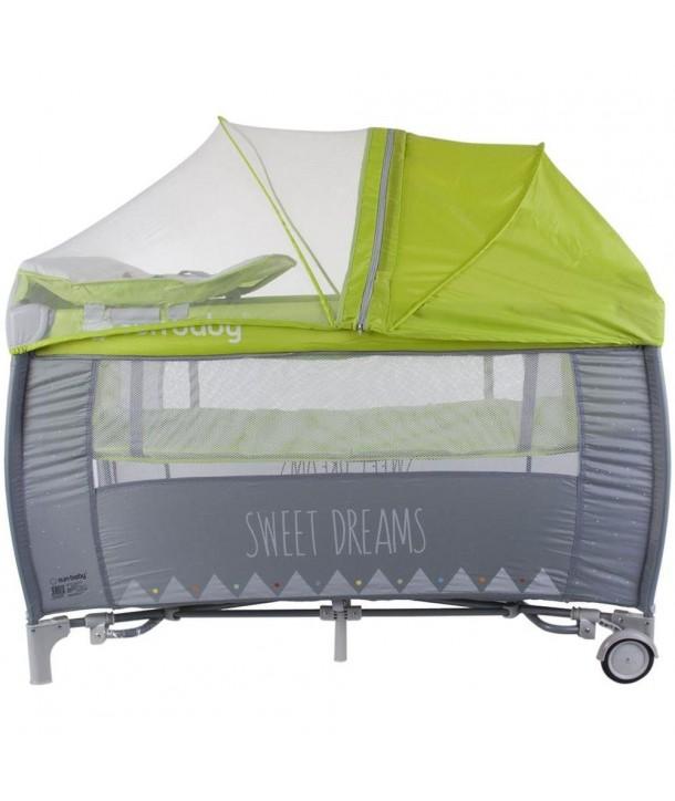 Patut Pliabil cu Sistem de Leganare Sweet Dreams - Sun Baby - Verde