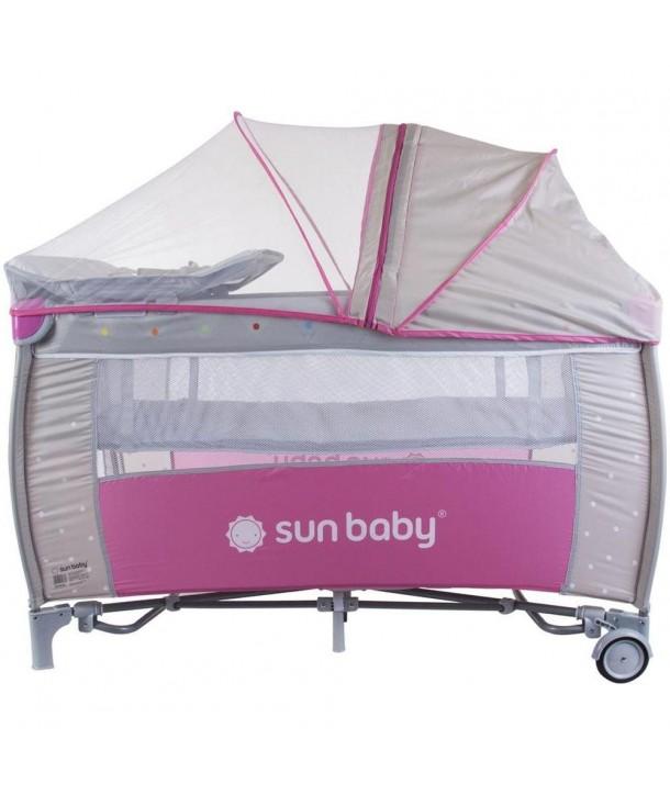 Patut Pliabil cu Sistem de Leganare Sweet Dreams - Sun Baby - Roz