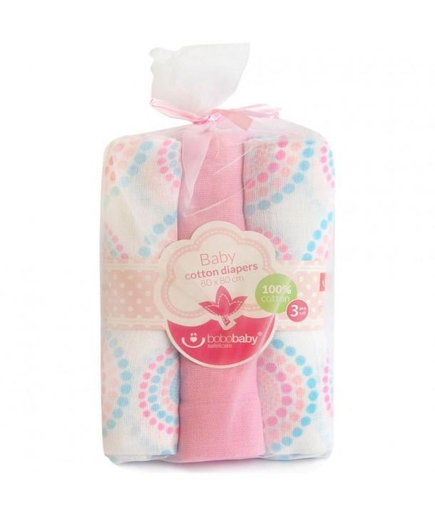 Scutece textile pentru bebelusi 3 buc - Bobobaby - Roz cu Buline