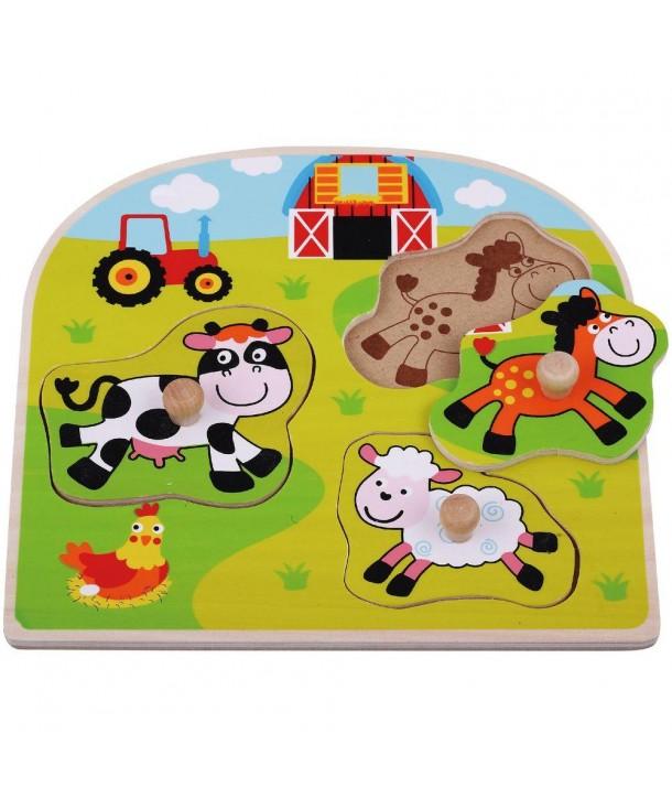 Puzzle din lemn Ferma Animale Domestice - Sun Baby