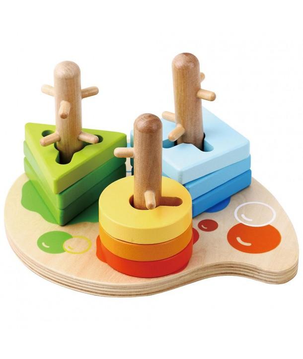 Jucarie de abilitate din lemn cu 10 piese - Sun Baby