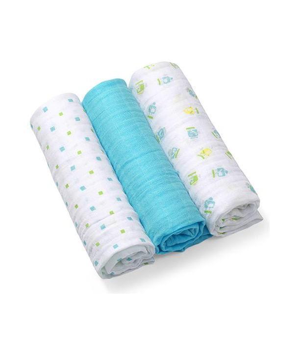 Scutece textile pentru bebelusi 3 buc - BabyOno - Albastru