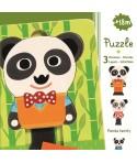 Puzzle straturi Djeco familia de panda