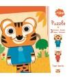 Puzzle straturi Djeco familia de tigri